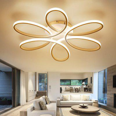 Gearbest EverFlower Modern Simple Floral Shape LED Semi Flush Mount Ceiling Light With Max 75W Painted Finish