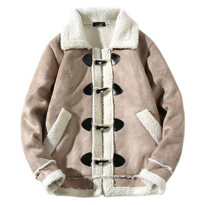 Male Cool Trendy Simple Turn-down Collar Spliced Parkas