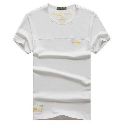 NIAN JEEP Men's Casual Embroidery Round Collar T-shirt