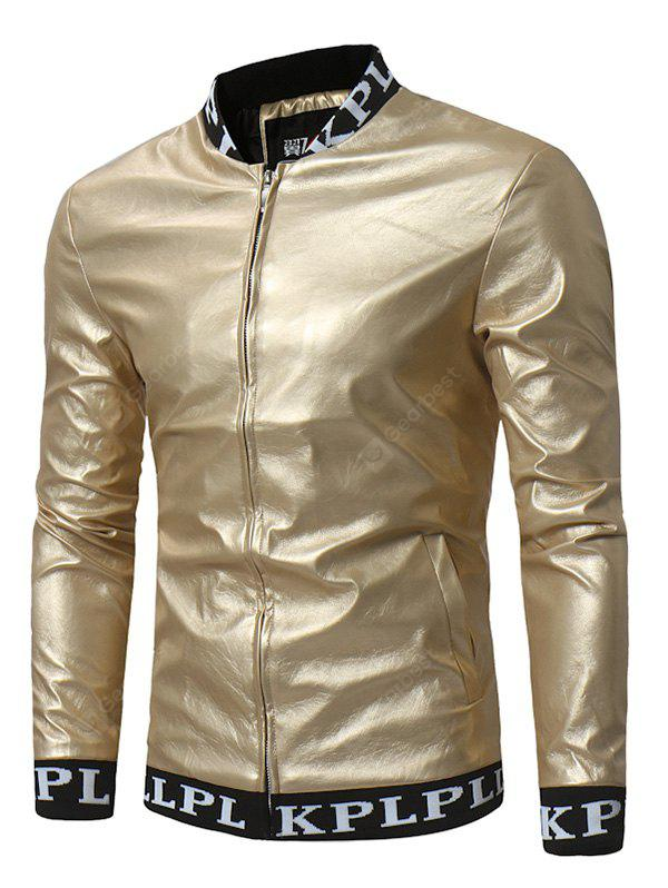 PU Leather Stand-up Collar Zip Up Jacket for Men