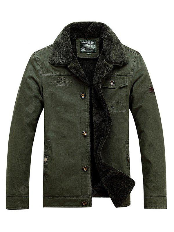 ARMY GREEN L NIAN JEEP Casual Turn-down Fur Collar Jacket for Men