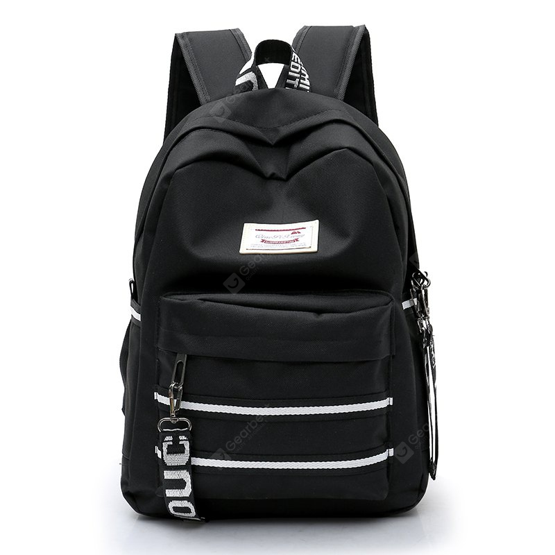 BLACK Women Trendy Nylon Laptop Backpack