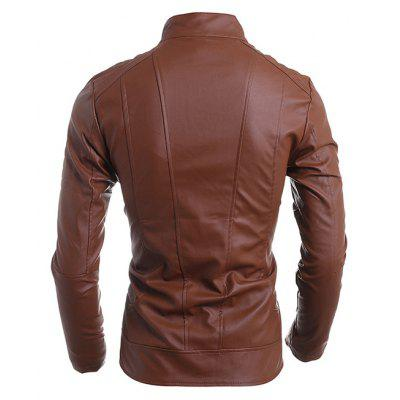 Stand Collar PU Leather JacketMens Jackets &amp; Coats<br>Stand Collar PU Leather Jacket<br><br>Closure Type: Zipper<br>Clothes Type: Leather &amp; Suede<br>Collar: Stand Collar<br>Embellishment: Zippers<br>Materials: PU<br>Occasion: Daily Use<br>Package Content: 1 x Leather Jacket<br>Package Dimension: 35.00 x 25.00 x 2.00 cm / 13.78 x 9.84 x 0.79 inches<br>Package weight: 0.8200 kg<br>Pattern Type: Solid<br>Product weight: 0.8000 kg<br>Seasons: Autumn,Winter<br>Shirt Length: Regular<br>Sleeve Length: Long Sleeves<br>Style: Leather<br>Thickness: Medium thickness