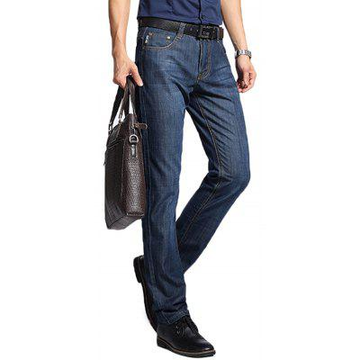 NIAN JEEP Male Simple Pure Color Slim Thickening Jeans