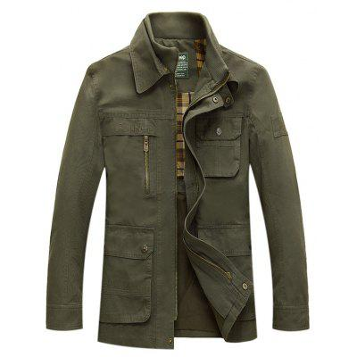 Buy ARMY GREEN L NIAN JEEP Trendy Casual Stand-up Collar Jacket for $56.27 in GearBest store