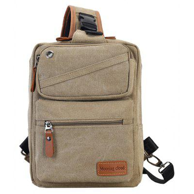 Buy KHAKI Men Casual Leather-trimmed Canvas Chest Bag for $16.50 in GearBest store