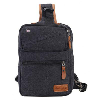 Buy BLACK Men Casual Leather-trimmed Canvas Chest Bag for $16.50 in GearBest store