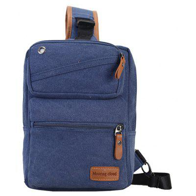 Buy BLUE Men Casual Leather-trimmed Canvas Chest Bag for $16.50 in GearBest store