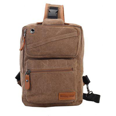 Buy BROWN Men Casual Leather-trimmed Canvas Chest Bag for $16.50 in GearBest store