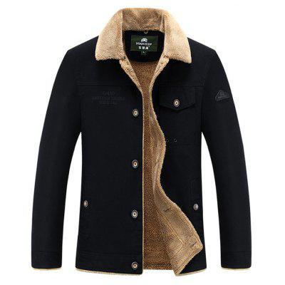 NIAN JEEP Masculino Casual Turn-down Fur Collar Thicking Jacket
