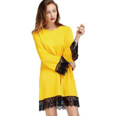 Buy YELLOW M Loose Lace Jointed Hem A-line Dress for $22.04 in GearBest store