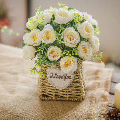 Artificial Flower Home Decoration with Plastic Vase