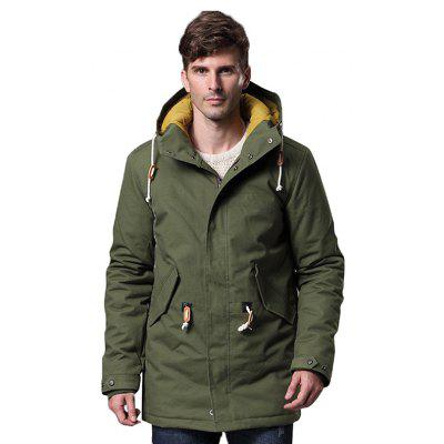 Green Male Simple Loose Casual Thickening Long Parkas L ...