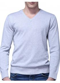 Male Elegant Simple Pure Color V Neck Sweater