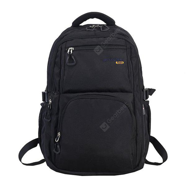 BLACK Men Minimalist Solid Color Nylon Laptop Backpack