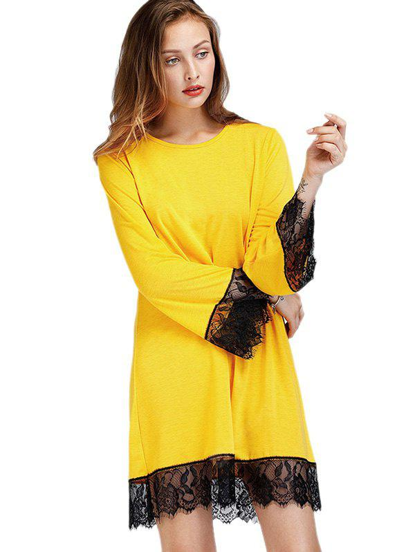 YELLOW XL Loose Lace Jointed Hem A-line Dress
