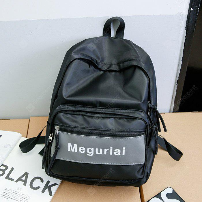 BLACK Men Trendy Printed Splicing Nylon Backpack