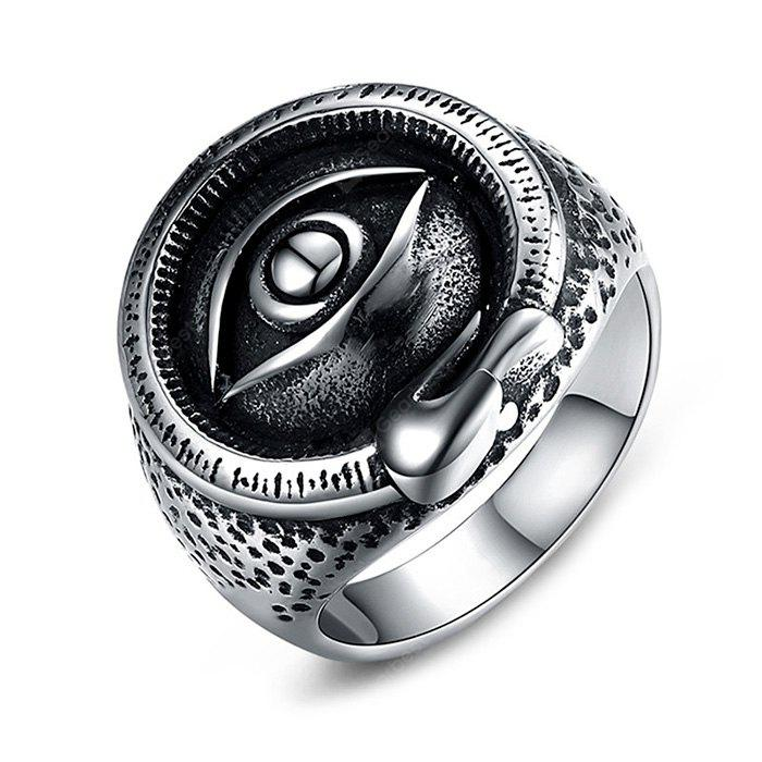SILVER 8 Retro Trendy Titanium Steel Men Ring