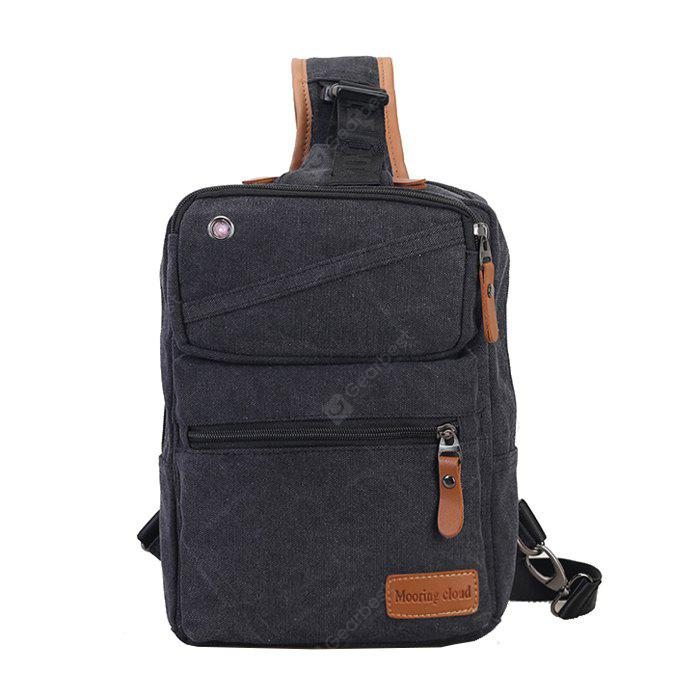 BLACK Men Casual Leather-trimmed Canvas Chest Bag