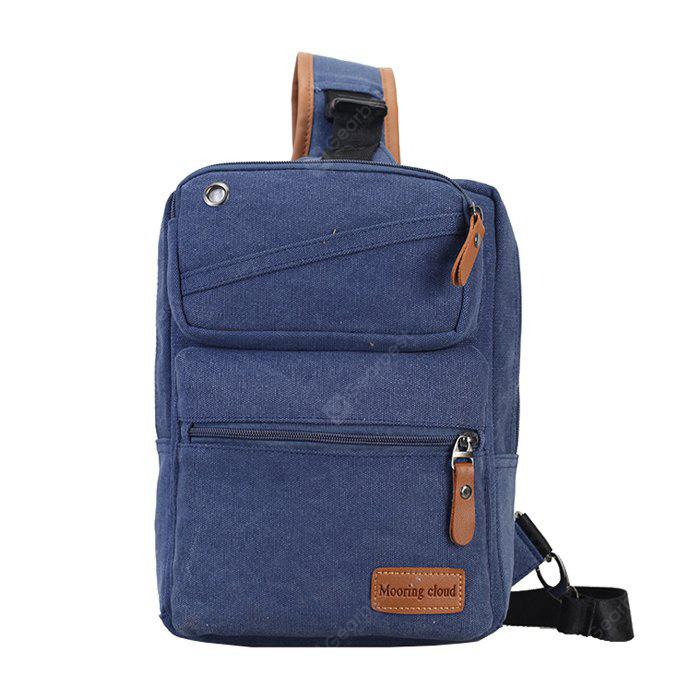 BLUE Men Casual Leather-trimmed Canvas Chest Bag