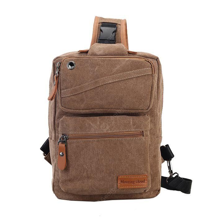 BROWN Men Casual Leather-trimmed Canvas Chest Bag