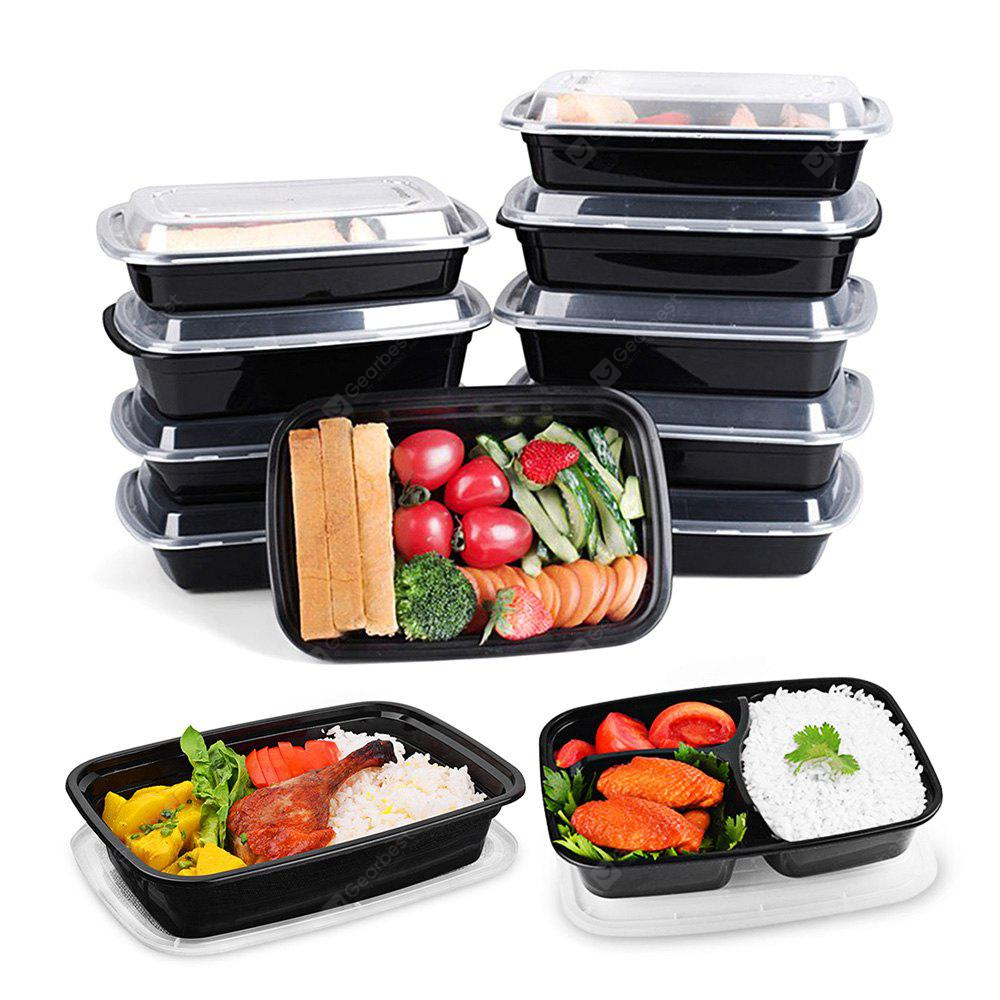 WHITE AND BLACK BPA Free Bento Lunch Boxes with Lids 10pcs / Set