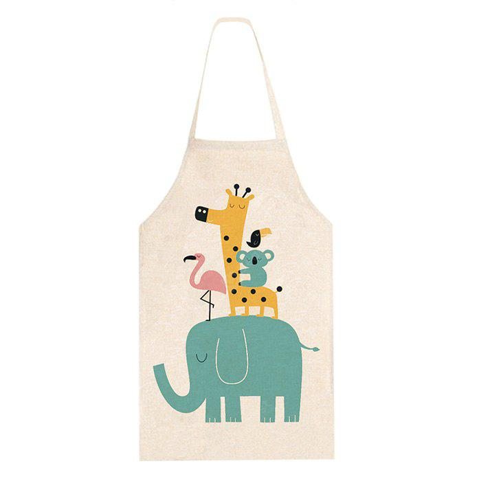Cotone Lino Grembiule Cartoon Love Animals Accessori da Cucina