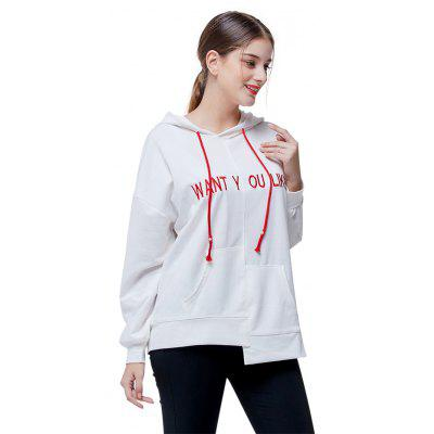 Casual Irregular Hemline Letter Print HoodieSweatshirts &amp; Hoodies<br>Casual Irregular Hemline Letter Print Hoodie<br><br>Clothes Type: Hoodie<br>Material: Cotton, Polyester<br>Occasion: Going Out, Daily Use, Casual<br>Package Contents: 1 x Hoodie<br>Package size: 35.00 x 28.00 x 3.00 cm / 13.78 x 11.02 x 1.18 inches<br>Package weight: 0.4500 kg<br>Product weight: 0.4200 kg<br>Style: Casual