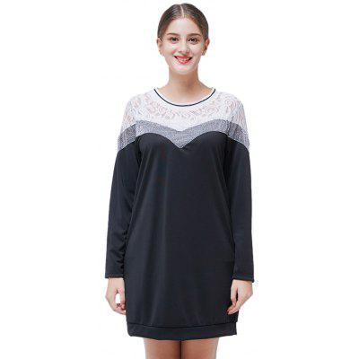 Buy BLACK 4XL Lace Jointed Long Sleeve Straight Dress for $25.79 in GearBest store