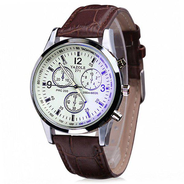 YAZOLE 271 Leather Band Pin Buckle Watch for Men