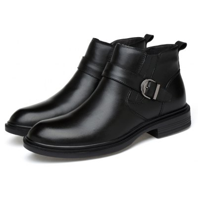 Male Chic Soft Decorative Buckle Ankle-top Boots