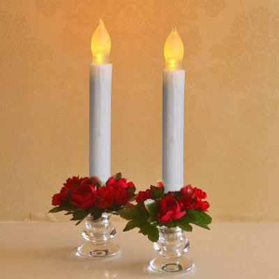 Flameless Plastic Realistic LED Taper Candle Light 12PCS