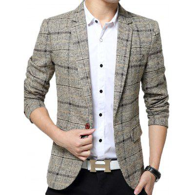 Male Business Casual Slim Soft Plaid Suit Blazer