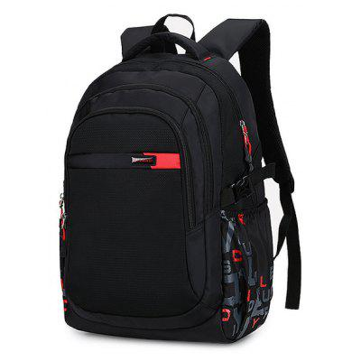 Men Letter Printed Water-resistant Laptop Backpack