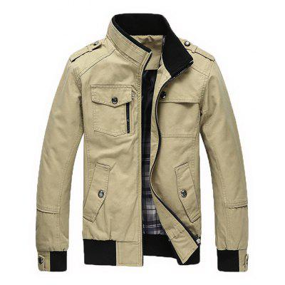 Masculino Loose Pure Color Casual Stand-up Collar Jacket