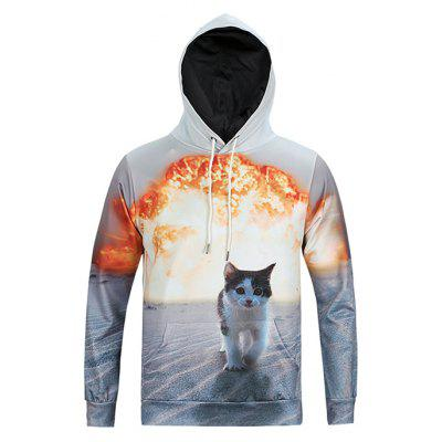 Mr.1991INC Miss.GO Male Cute Loose 3D Cat Printing Hoodie