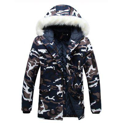 Hooded Faux Fur Outwear Lined Warm Coats Parka for Men