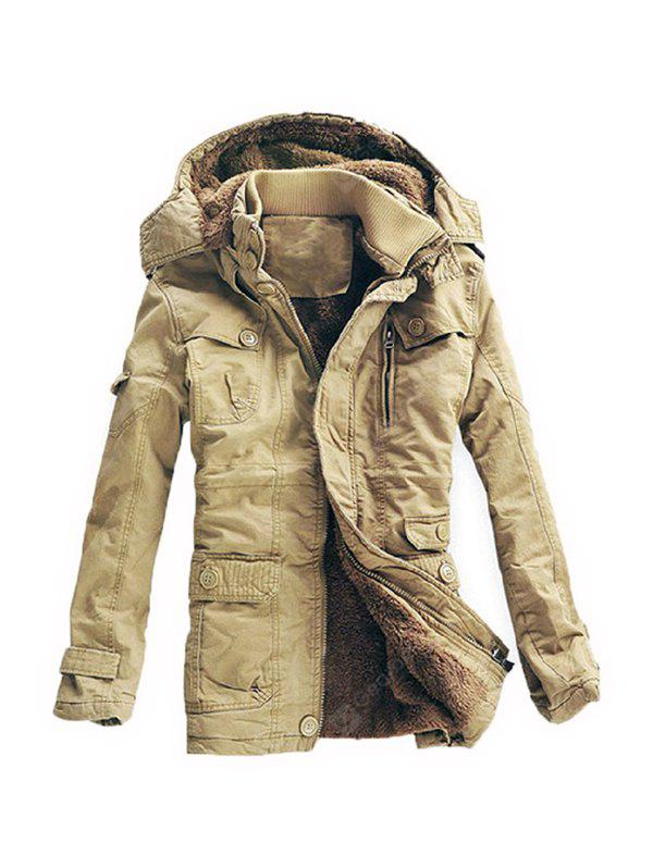 Male Simple Casual Loose Thickening Long Parkas