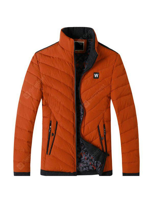 Male Casual Pure Color Stand-up Collar Parkas