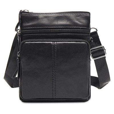 Male Leather Zip-up Crossbody Bag