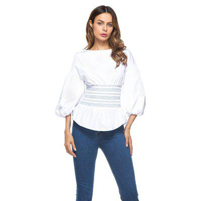 Buy WHITE M Dropped Shoulder Puff Sleeves Tight Waist Blouse for $24.56 in GearBest store