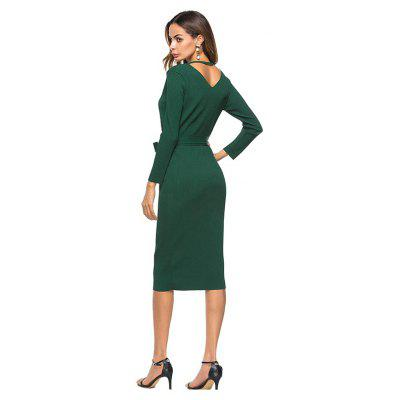 V-neck Fitted Dress with BeltWomens Dresses<br>V-neck Fitted Dress with Belt<br><br>Dresses Length: Mid-Calf<br>Material: Polyester<br>Neckline: V-Neck<br>Package Contents: 1 x Dress<br>Package size: 30.00 x 40.00 x 1.00 cm / 11.81 x 15.75 x 0.39 inches<br>Package weight: 0.3250 kg<br>Pattern Type: Solid Color<br>Product weight: 0.3150 kg<br>Season: Fall, Spring<br>Silhouette: Beach<br>Sleeve Length: Long Sleeves<br>Style: Elegant<br>With Belt: Yes