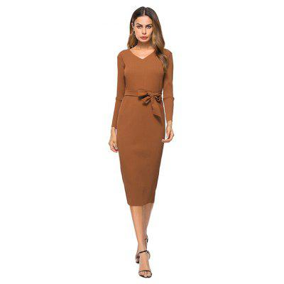 V-neck Fitted Dress with Belt