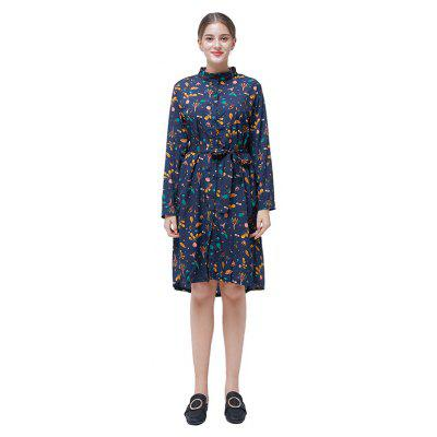 Oversize Stand Collar Floral Dress