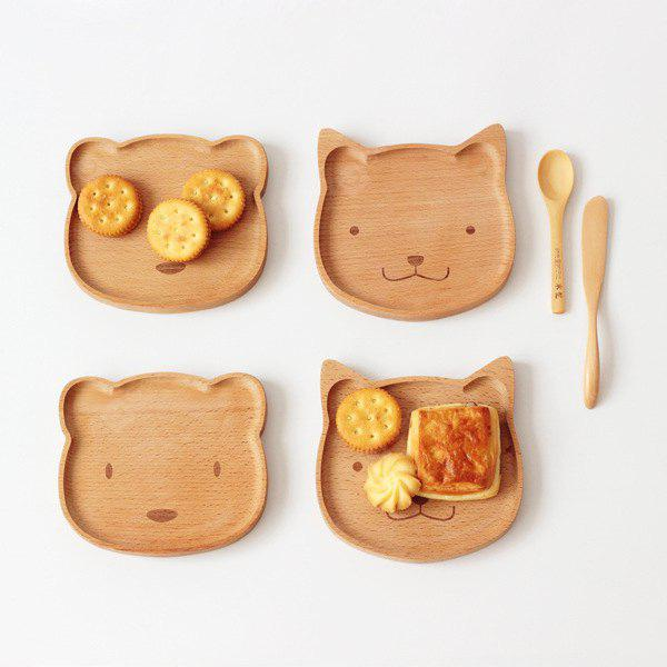 Bear Shape Wooden Plate Creative Cake Snack Dish 1PC