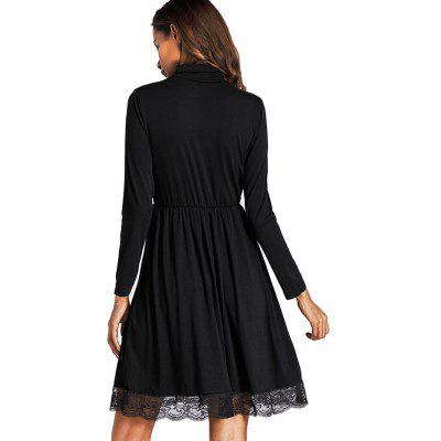 Turtleneck Lace Hemline Smock DressWomens Dresses<br>Turtleneck Lace Hemline Smock Dress<br><br>Dresses Length: Knee-Length<br>Embellishment: Lace<br>Material: Cotton, Polyester<br>Neckline: Turtleneck<br>Package Contents: 1 x Dress<br>Package size: 30.00 x 40.00 x 1.00 cm / 11.81 x 15.75 x 0.39 inches<br>Package weight: 0.3400 kg<br>Pattern Type: Solid Color<br>Product weight: 0.3200 kg<br>Season: Fall, Spring<br>Silhouette: Smock<br>Sleeve Length: Long Sleeves<br>Style: Casual<br>With Belt: No