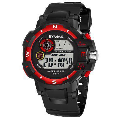 SYNOKE 9318 Outdoor Sports Electronic Watch Waterproof Electronic WatchMens Watches<br>SYNOKE 9318 Outdoor Sports Electronic Watch Waterproof Electronic Watch<br><br>Band material: PU<br>Band size: 25 x 2.515cm<br>Brand: Synoke<br>Case material: ABS<br>Clasp type: Pin buckle<br>Dial size: 5.205 x 5.205 x 1.525cm<br>Display type: Digital<br>Movement type: Digital watch<br>Package Contents: 1 x Watch<br>Package size (L x W x H): 12.50 x 8.00 x 9.00 cm / 4.92 x 3.15 x 3.54 inches<br>Package weight: 0.0537 kg<br>Product size (L x W x H): 25.00 x 5.21 x 1.53 cm / 9.84 x 2.05 x 0.6 inches<br>Product weight: 0.0470 kg<br>Shape of the dial: Round<br>Special features: Alarm Clock, Stopwatch, Luminous<br>Watch mirror: Acrylic<br>Watch style: Outdoor Sports<br>Watches categories: Men