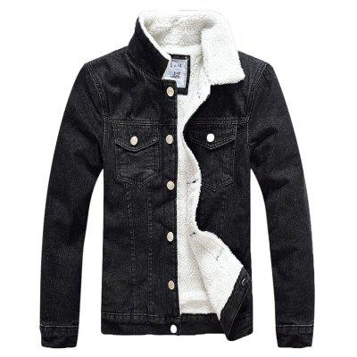 Masculino Cool Slim Turn-down Collar Denim Jacket