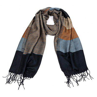 Stripe Tassels Double-Side Keep Warm Scarf para Hombres