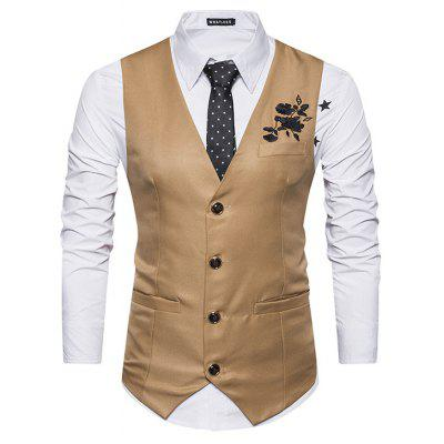 Male Turndown Collar Flower Embroidery Waistcoat